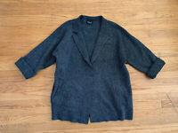 Zara Knit Womens sz S/M  Black/Gray Marled Open Front Knit Cardigan Jacket Coat