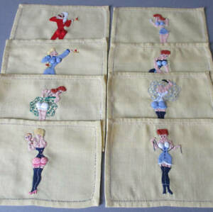 8 Vintage RISQUE Cocktail Napkins Hand Embroidered Applique LADIES Padded Assets