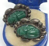 Vintage Sterling Silver Earrings 925 Mexico Screw Back Face Carved Green Stone