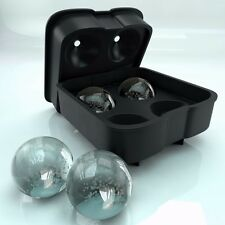 Round Ice Ball Maker Silicone Tray FOUR Whiskey Cube Molds Sphere Cocktails US
