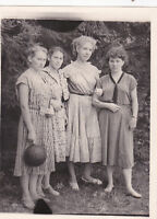 1950s Pretty young women with ball friends fashion old Soviet Russian photo