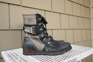 Sorel Major Carly Boot Black Leather Gray Canvas 8 Snow Ankle Combat Bootie