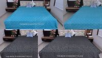 Indian Handmade Queen Kantha Blanket Quilt Throw Bedspread Bedding Bed Cover