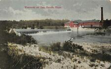Waterworks and Dam, Danville, Illinois ca 1910s Vintage Postcard Antique