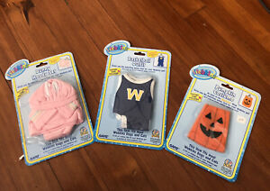 Lot Of 3 Webkinz Costume/Outfits Dogs/Cats Halloween Pumpkin/Easter/Basketball