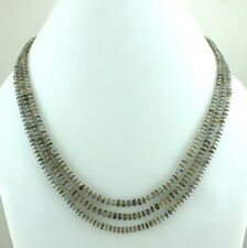 NECKLACE NATURAL LABRADORITE GEMSTONE BEADED 925 SOLID STERLING SILVER 31 GRAMS