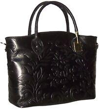 Black NWT Genuine Italian Leather Embossed Handbag Shoulder bag Tote 1413