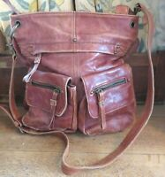 Tano Women's Distressed Brown Leather Hobo Cross Body Bag Slouchy