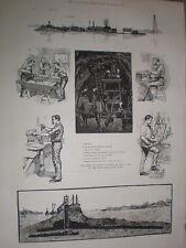 Preparando a far saltare ROCCE Hell Gate NEW YORK USA 1885 VECCHIE STAMPE