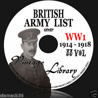 WW1 British Army Lists 1914 - 1918  33 Volumes on  DVD E BOOK medals coat hat