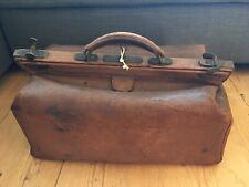 Large Leather Antique Vintage Gladstone Doctor's Bag