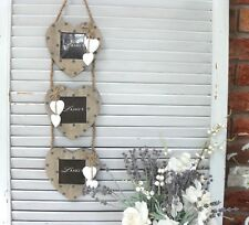 Grey Wood Dotty Triple Heart Photo Frame, Country Style Home Decor, Rustic
