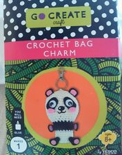 Go Create Craft , CROCHET BAG  CHARM , PANDA. Bnib.