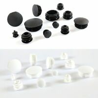 Domed Round Plastic Blanking End Cap Tube Insert Plug Made in Germany/WhiteBlack