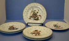 "SET/6 SAKURA ""SLEDDING CHARACTERS"" 8-1/4"" LUNCH SALAD PLATES CHRISTMAS"