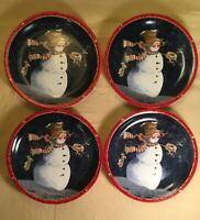"""Today's Living Christmas Snowman Medium Plates 8"""" Lot Of 4 - Good Condition!"""