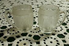 """PAIR OF VINTAGE GLASS BARREL MUGS CANDY CONTAINERS  ♢ 2.25"""" TALL"""