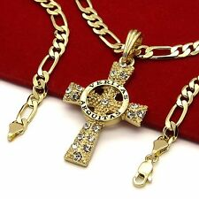 "Mens 14k Gold Plated High Fashion Symbol Cross Pendant 5mm 24"" Inch Figaro chain"