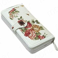 Ladies Floral Canvas Anna Sui Card Zipper Wallet - (White~)