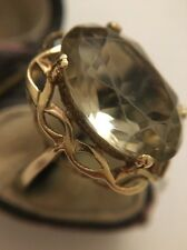Antique Yellow Gold Extra Large Citrine Cocktail Ring Dress Ornate