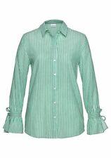 ANISTON Bluse Gr. 40 weiß grün gestreift lange Ärmel Bindeband Baumwolle neu