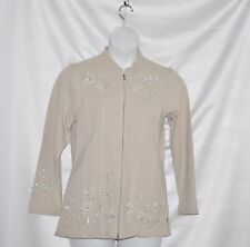 Quacker Factory Pearly Floral Embellished Zip Front Jacket Size S Khaki