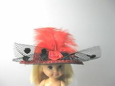 "Doll Hat 2.75"" Red Felt Roses Feather fits Amelia Thimble Kelly 4.5"" Blythe doll"