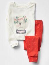 GAP Baby Boys / Girls Size 6-12 Months Red Snow Globe Christmas Pajama PJ Set