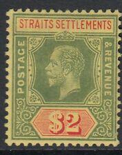 MALAYA STRAITS SETTLEMENTS SG211a 1915 $2 GREEN & RED/YELLOW MTD MINT