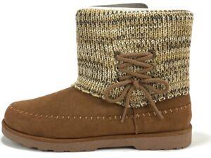 Sanuk Womens Round Toe Honey Bee Fringe Boots Chestnut Suede Brown Size US 9 NIB