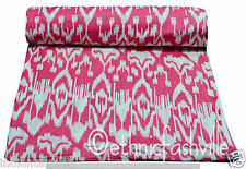 3 Yard Cotton Pink Ikat Hand Block Sanganeri Print Sewing Material Craft