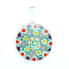 Murano Glass Handmade Sterling Silver Pendant From Venice Various Colours 23mm