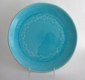 Set 4 ARTISTIC ACCENTS Crackled Glass Turquoise Aqua Blue Stoneware DINNER PLATE