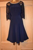 MONSOON NAVY BLUE LACE EVENING SPECIAL OCCASION PARTY DRESS SIZE 16