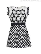 EMANUEL UNGARO Black and White Lace Short Dress Size 8