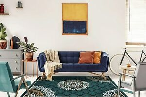 Polypropylene Hand-Tufted Solid Modern Carpet(3 X 2Ft,Green)For Home Decoration