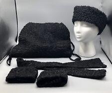 Vintage Persian Black Curly Lambs Wool Ladies Muff/Purse Hat Collar & Cuffs Set