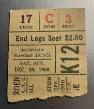 Dec 30, 1950 New York Knicks & Boston Celtics Ticket Stub 77-60 Knicks