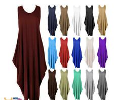 Women Lagenlook Ladies Parachute Dress Sleeveless Tulip Summer Midi Dress Tops