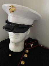 USMC KINGFORM CAP DRESS BLUES UNIFORM White Vinyl HAT COVER EGA 6 7/8 Mint