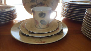 Large Stoneware Dinnerware Set by 222fifth PTS Asian Antique Service 12 EUC