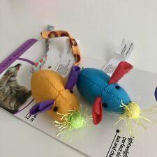 New Petstages Twice Mice Fun Multicolor Fabric Cat Toy Rattle Signals Catnip