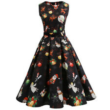 Christmas Women 1950s Retro Skater Swing Dress Xmas Santa Holiday Party Clothes
