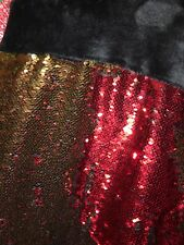 Nwt Reversible Red Or Gold Sequins / Black Silky Plush Blanket 50 x 60