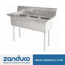 "Zanduco Three Tub Sink 18""X18""X11"" with No Drain Board"