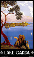 Lake Garda Italy, Old Vintage Travel Ad, Antique Poster, HD Art Print or Canvas
