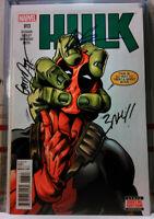 💥 SIGNED! HULK #13 ROB LIEFELD MARK BAGLEY GERRY DUGGAN 🩸 DEADPOOL Marvel 2014
