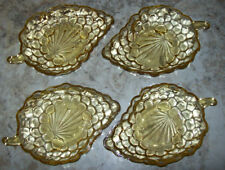 4 VINTAGE GRAPE LEAF YELLOW DEPRESSION GLASS CANDY TRINKET DISHES