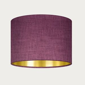 Aubergine Textured Woven Fabric Drum Lampshade with Brushed Gold