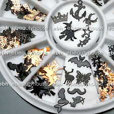 120 Pcs 3D Metal DIY Nail Art Tips Stickers Decal Black Slices Decoration EB-160